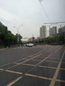 蘇州有軌電車の交差点付近の軌道